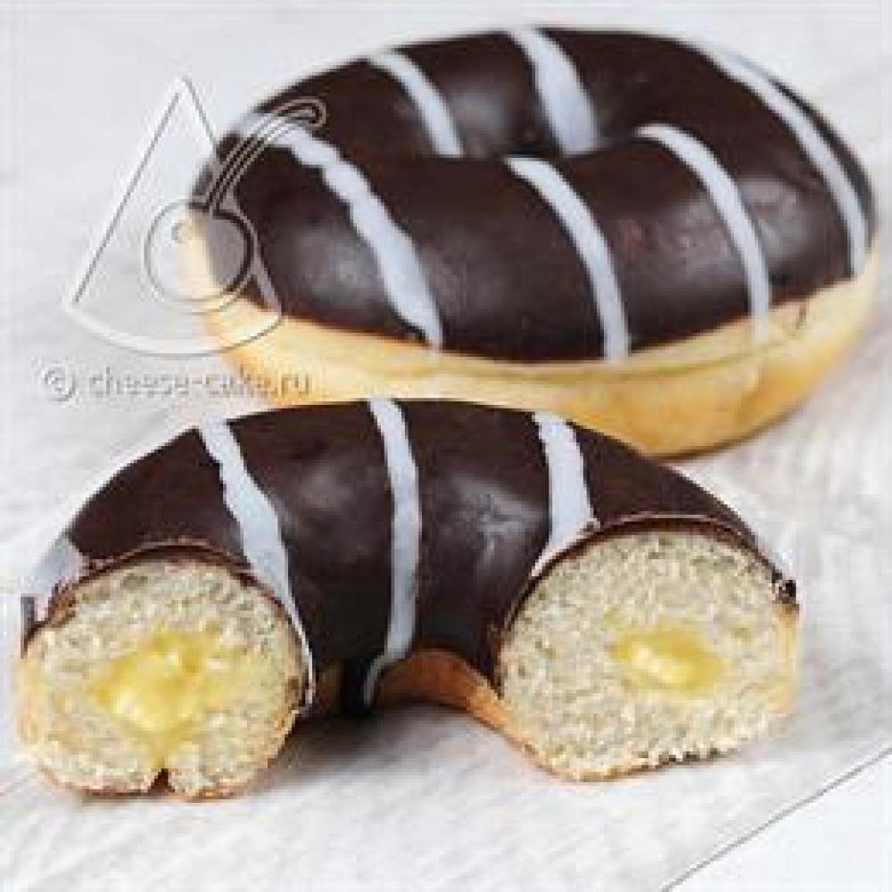 Пончики с ванильной начинкой и шоколадной глазурью